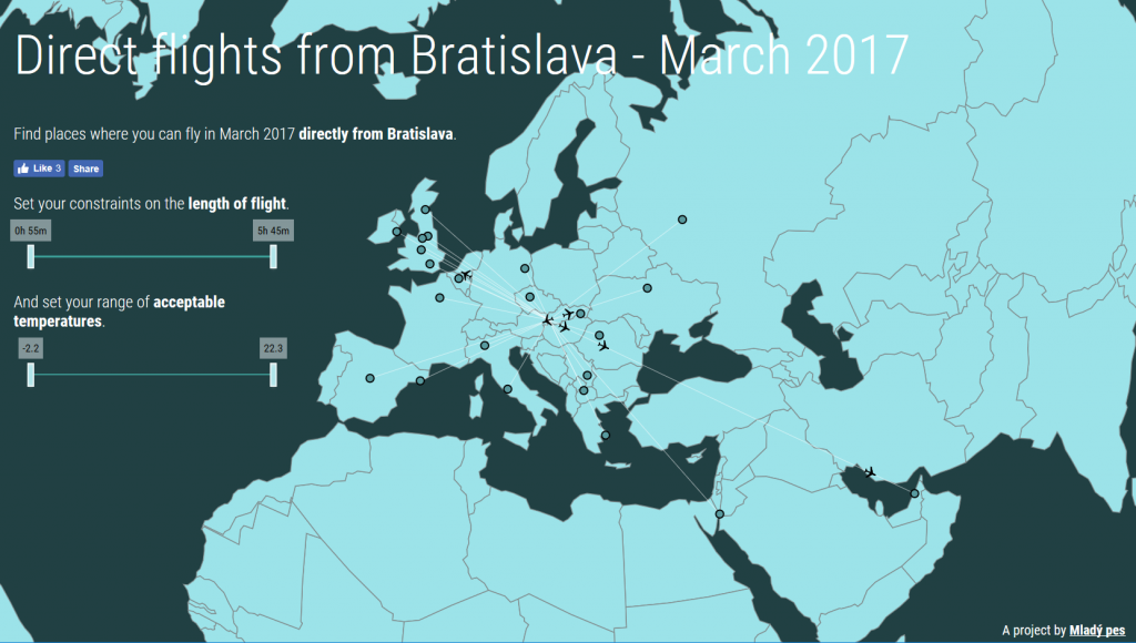 Map of direct flights from Bratislava